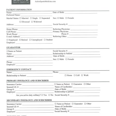 Paperwork | Active Sports Medicine on new patient registration, new patient podiatry forms, new patient information template, new patient questionnaire form, new patient paper neurobergen, new patient forms dr office, new patient forms in pdf,